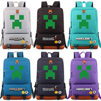 Games MineCraft Creepers Green Plaid Boy Girl School bag Women Bagpack Teenagers Patchwork Canvas Men Student Laptop Backpack