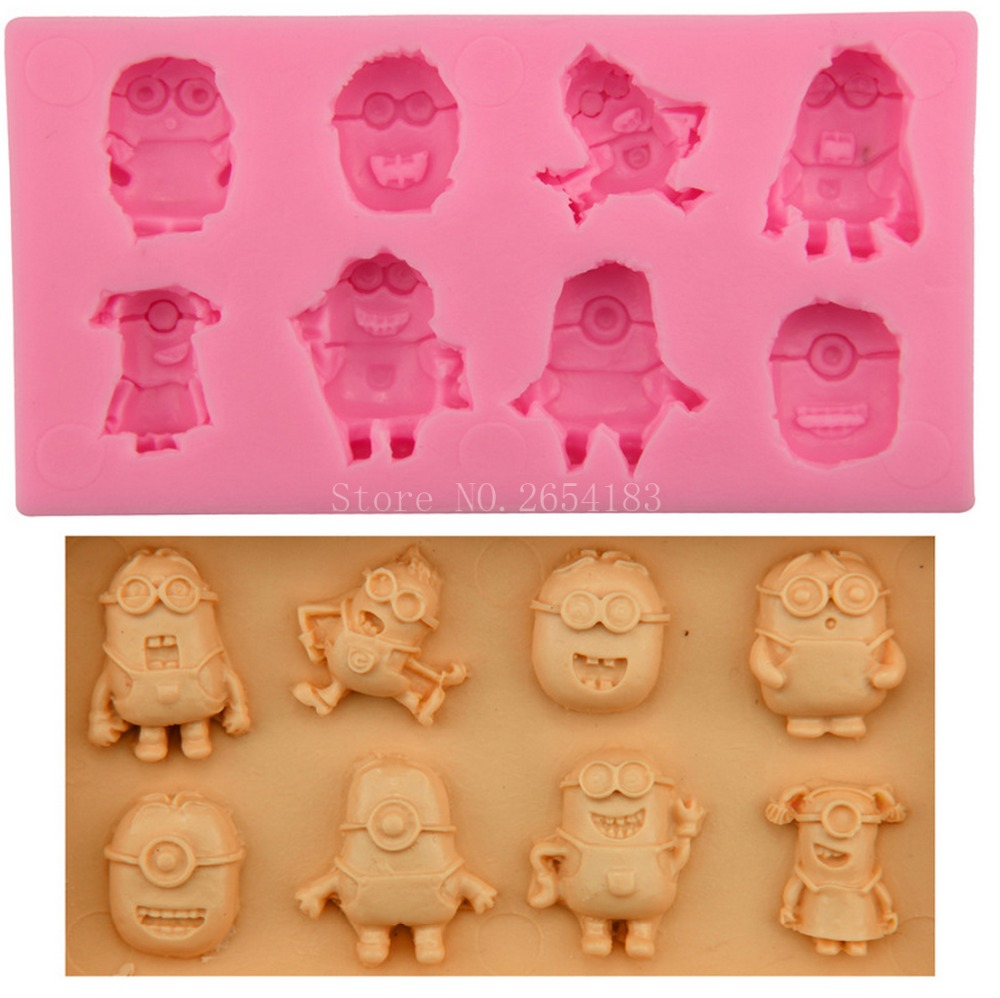 8hold Cartoon Minions Silicone Fondant Soap 3D Cake Mold Cupcake Jelly Candy Chocolate Decoration Baking Tool Moulds FQ2365