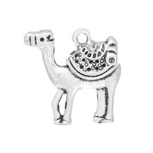 DoreenBeads Zinc metal alloy Charm Pendants Camel Antique Silver(Can Hold ss4 Rhinestone)Inlaid faceteds 23mm x 23mm ,4 PCs(China)