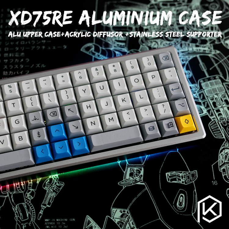 Anodized Aluminium case for xd75re xd75 60 custom keyboard acrylic panels acrylic diffuser can support Rotary