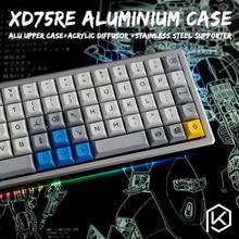 Funda de aluminio anodizado para teclado xd75re xd75 60%, panel acrílico personalizado, difusor acrílico, soporte giratorio