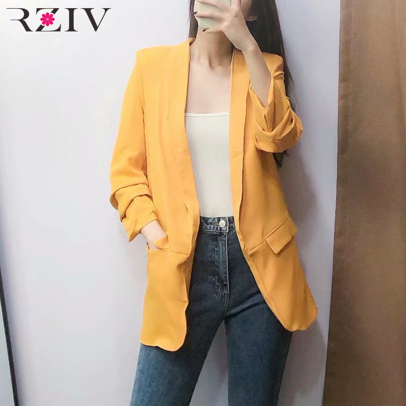 RZIV Spring Women Suit Leisure Suit Solid Color Fold Sleeve Design