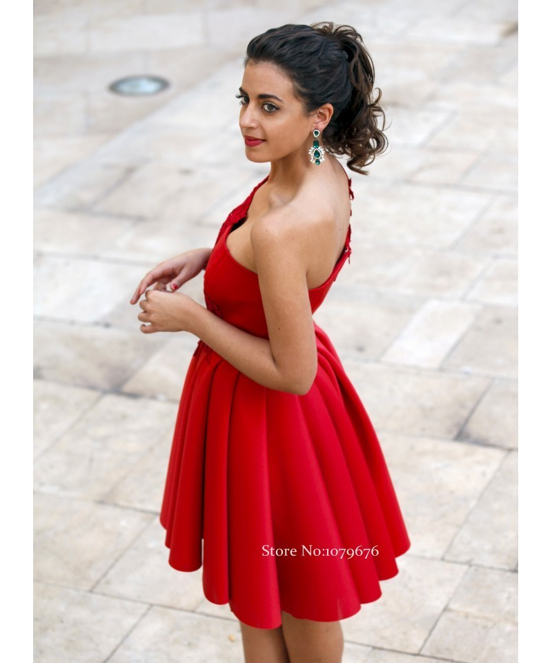 New Arrival 2016 Cheap Short Party Gowns One Shoulder Red Homecoming  Dresses Lace Juniors Graduation Dress A-Line DSH011 40e7d02b54c6