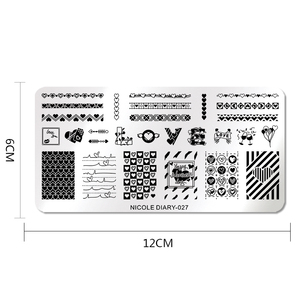 Image 2 - NICOLE DIARY Valentines Day Nail Stamp Plate Rectangle Nail Art Stamping Image Template DIY Nail Plate Geometric Print Stencil