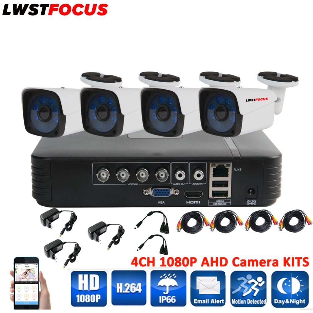 4CH AHD 5 IN 1 Security XVR DVR System HDMI 1920 1080P 3000TVL AHD Weatherproof font