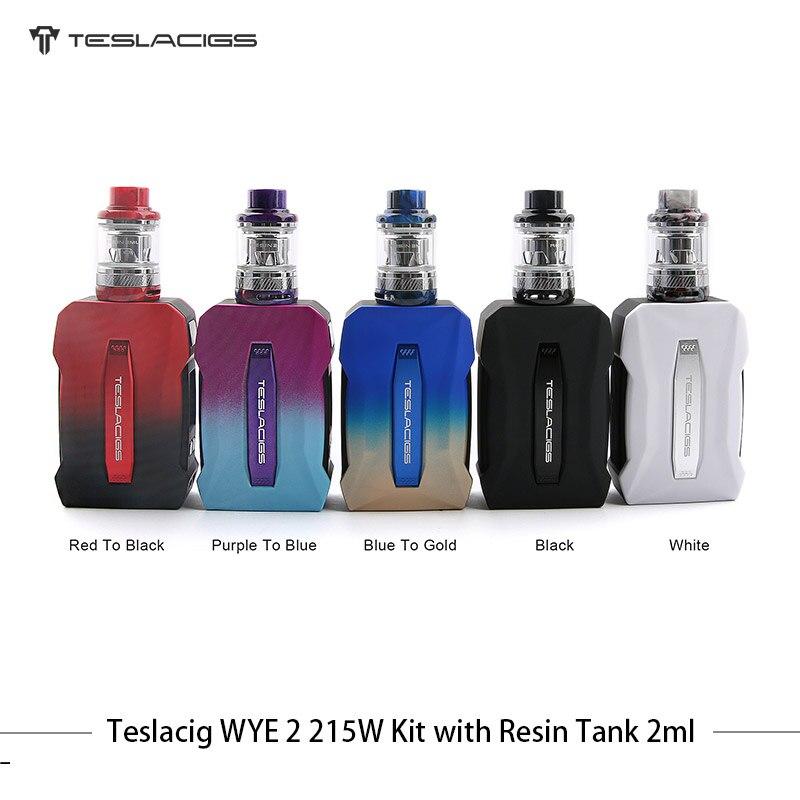 D'origine Cigarette Électronique Teslacigs WYE II 215 w TC Kit Double Batterie Boîte Mod Vaporisateur 4 ml Résine réservoir avec TS-XX TS-120X Bobine