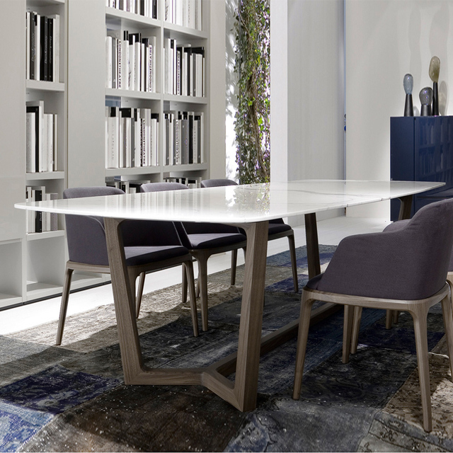 Nordic Wood Marble Dining Table Small Apartment Minimalist Ikea For Six Rectangular Chair Combinations