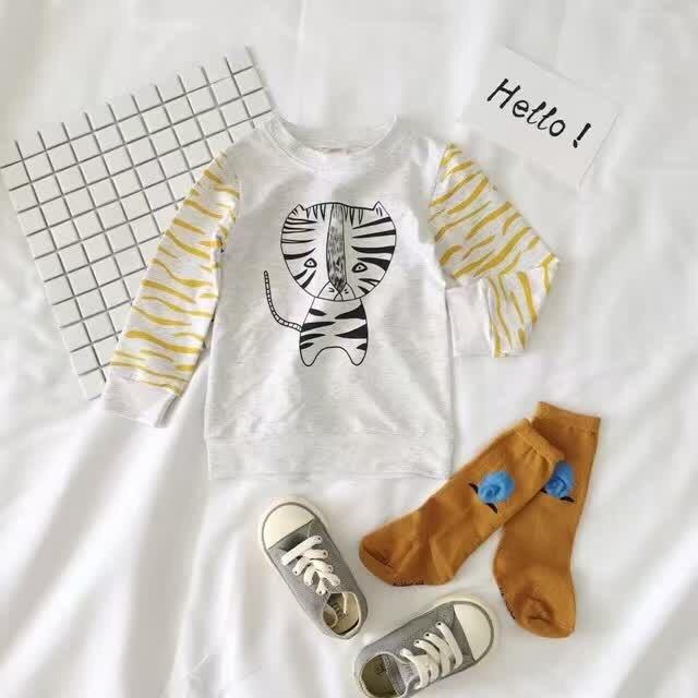 Ins * mais novo 2016 unisex bebê crianças terry algodão moletons tiger padrão meninos meninas hoodies top outono 0-4A frete grátis