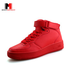 onlymonkey design hot sale thick bottom shoes men red high-top casual shoes spring autumn fashion non-slip durable walking shoes