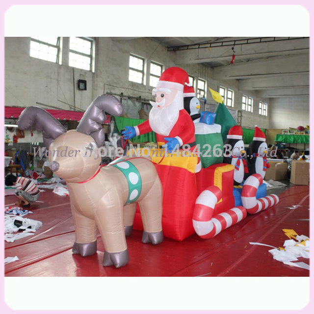 Christmas Inflatables Outdoor outdoor christmas inflatables High Quality Large 23ft Popular Christmas Decoration Outdoor Natale Christmas Inflatables Santa Tractor