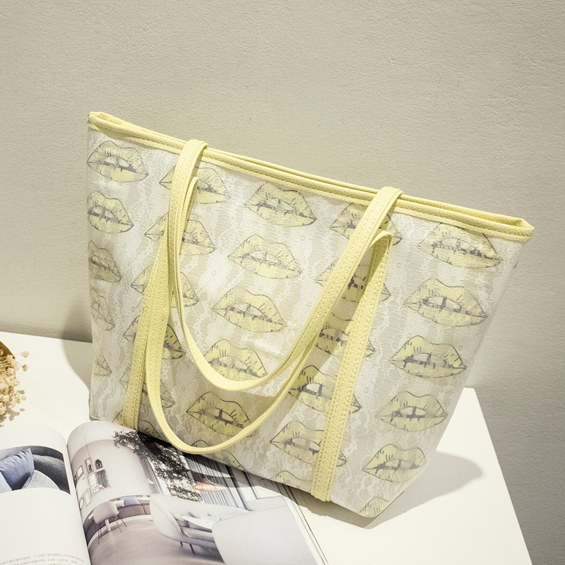 Bolsa de playa con estampado de labios de alta calidad bolsa de playa - Bolsos - foto 2