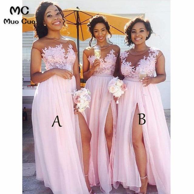 597dc82f532 2018 Blush Pink Sheer Lace Bridesmaid Dress Long Chiffon Front Slit Wedding  Party Dress Custom Made Women Bridesmaid Dresses