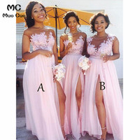 2018 Blush Pink Sheer Lace Bridesmaid Dress Long Chiffon Front Slit Wedding Party Dress Custom Made Women Bridesmaid Dresses