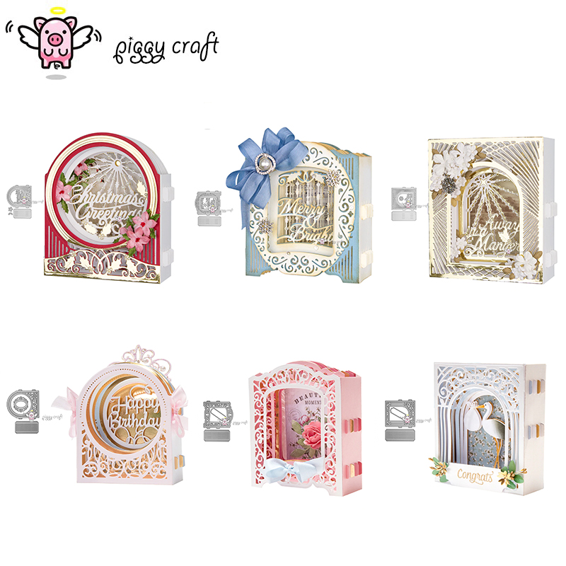 Piggy Craft Metal Cutting Dies Cut Die Mold 2019 New 3D Card Frame Scrapbook Paper Craft Knife Mould Blade Punch Stencils Dies(China)
