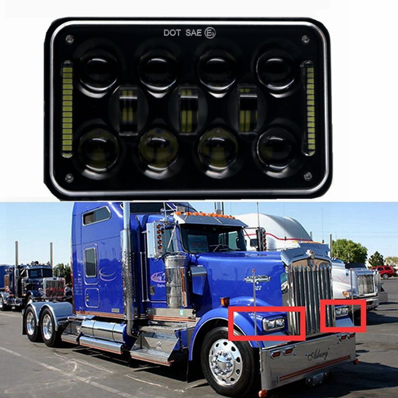 4x6 Square High Low Beam LED Headlight Reflector Sealed Beam Replacement With DRL for Peterbil Kenworth Freightinger Ford Probe 4x6 square high low beam led headlight reflector sealed beam replacement with drl for peterbil kenworth freightinger ford probe