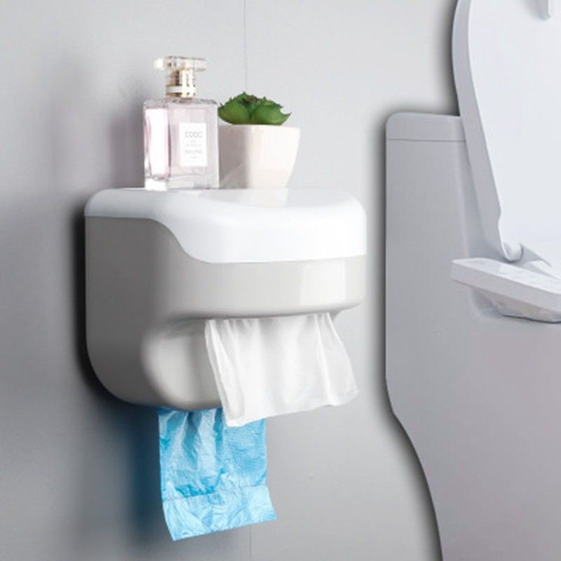 Space Saving Toilet Paper Holder Creative Waterproof Storage Box Paper Towels Holder Wall Bathroom Toilet Roll Dispenser Plastic