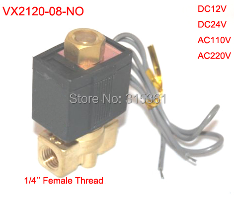 Free Shipping 1/4 Inch Brass Solenoid Valve 12V DC Electric Air Water Gas Normally Open free shipping new 1 2 inch brass solenoid valve 12v dc electric air water gas diesel fuel din coil 2w160 15 d
