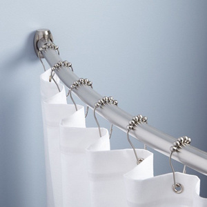 Image 2 - 12pcs Practical Stainless Steel Curtain Hooks Bath Rollerball Shower Curtains Glide Rings Convenient Home Bathroom Accessories