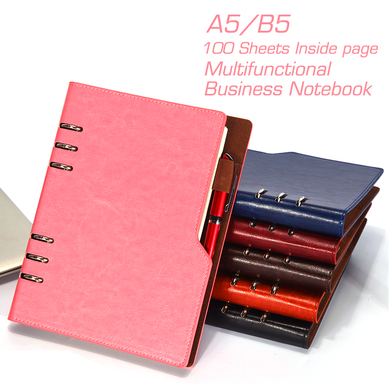 A5 B5 PU Leather Hardcover Spiral Notebook Diary Notepad Organizer Planner Composition Book Business Office School Stationery high quality pu cover a5 notebook journal buckle loose leaf planner diary business buckle notebook business office school gift