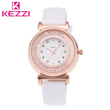 K-776 KEZZI Marca Analógico Reloj de Pulsera de Cuero de Moda de Lujo Mujeres Rhinestone Reloj de Cuarzo Relogio Feminino Regalo KZ34