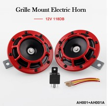 RED SUPER LOUD BLAST TONE GRILL MOUNT 12V ELECTRIC COMPACT CAR HORN 335HZ/400HZ refit car horn 12v electric bass trumpet moto high low red horn lound tone 400hz air horn grille mount compact basin air horn