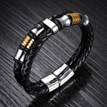 Classical Double Layer Handmade Leather Chain Weaved Man Bracelets Fashion New Magnet Clasp Stainless Steel Wristband LPH887