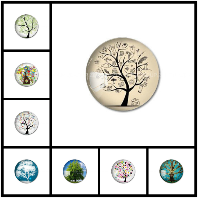 ZEROUP Round Photos Glass Cabochon Jewelry Finding fit Cameo Blank Settings Supplies for Jewelry Components 27