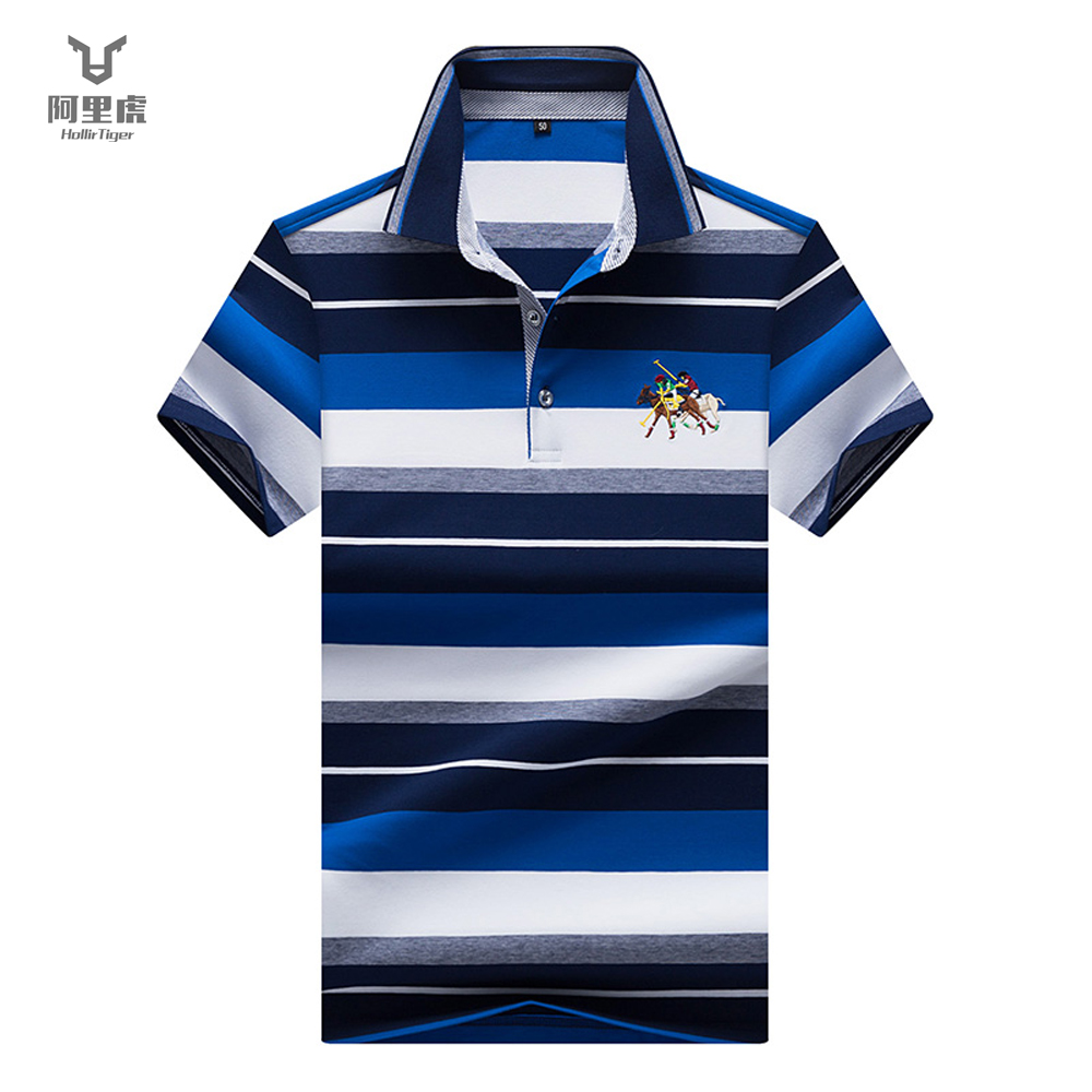 Hollirtiger male   polo   shirt cotton short sleeve summer breathable solid   Polos   Horse decoration Clothing