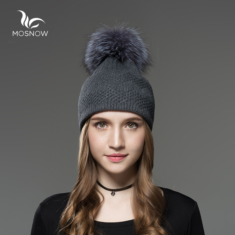 Mosnow Silver Fox Fur Pom Poms Hats For Girls Interwoven Texture Vogue Brand Knitted Women Warm Winter Skullies Beanies