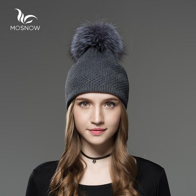 Mosnow Silver Fox Fur Pom Poms Hats For Girls Interwoven Texture Vogue Brand Knitted Women Warm  Winter Hats Skullies Beanies