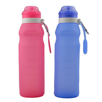 New Silicone Folding Water Bottle Portable Bottles With Cover For Bicycle Hiking Cambing Picnic Drinking Tools
