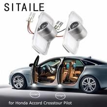 SITAILE araba kapıları için Honda Accord Crosstour Pilot Logo rozet amblemi ışığı 12v Led oto Led ışık araba şekillendirici