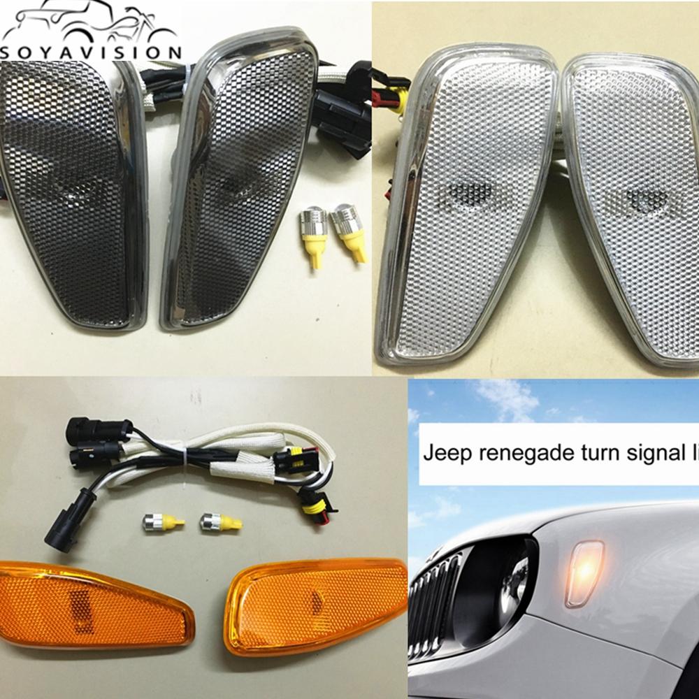 Prix pour Pour Jeep Renegade 2014-2016 Côté Réflexion WarningTurn Signal Lumineux de La Lampe Avant Tournez Side Signaux Lumineux Couverture Pour Jeep Renegade