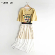 все цены на Cat Print 2 Piece Set Women Short sleeve Tassel long Female T-Shirt +Mesh Midi Skirts Two Piece Suits Casual Yellow Skirt Sets онлайн