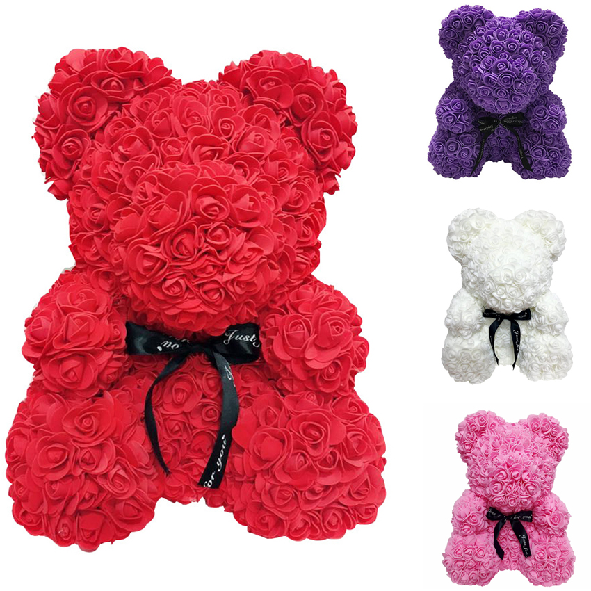 Cheap Sale 25cm Artificial Rose Flowers Heart Bear Christmas Gifts For Women Party Wedding Decoration Pe Flower Bear Toy Send Girl Gift Artificial & Dried Flowers Home & Garden