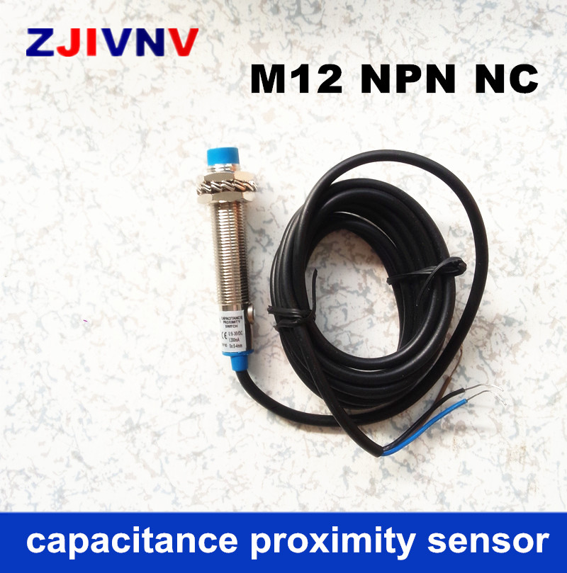 CE M12 NPN NC Cylinder type proximity capacitance sensor normally close switch DC 3 wires distance 4mm detect metal/non metal-in Switches from Lights & Lighting    1