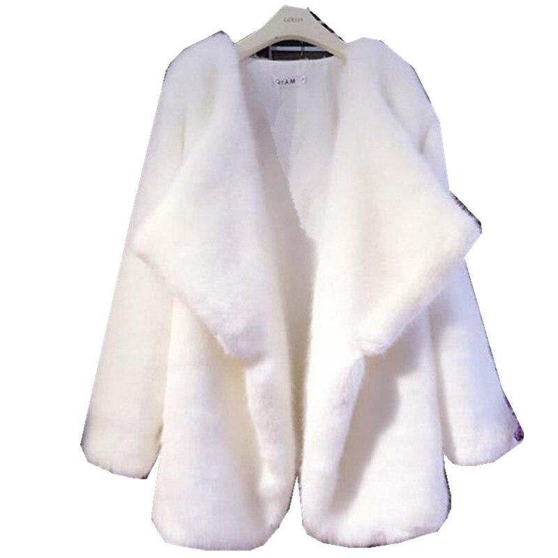 Pardessus Mode Haute Nouvelles Faux Hiver breasted Femme Longues Lâche C black De 680 White Rond Qualité Femmes Single À Manteau Automne Col Manches Fourrure ZIqIz