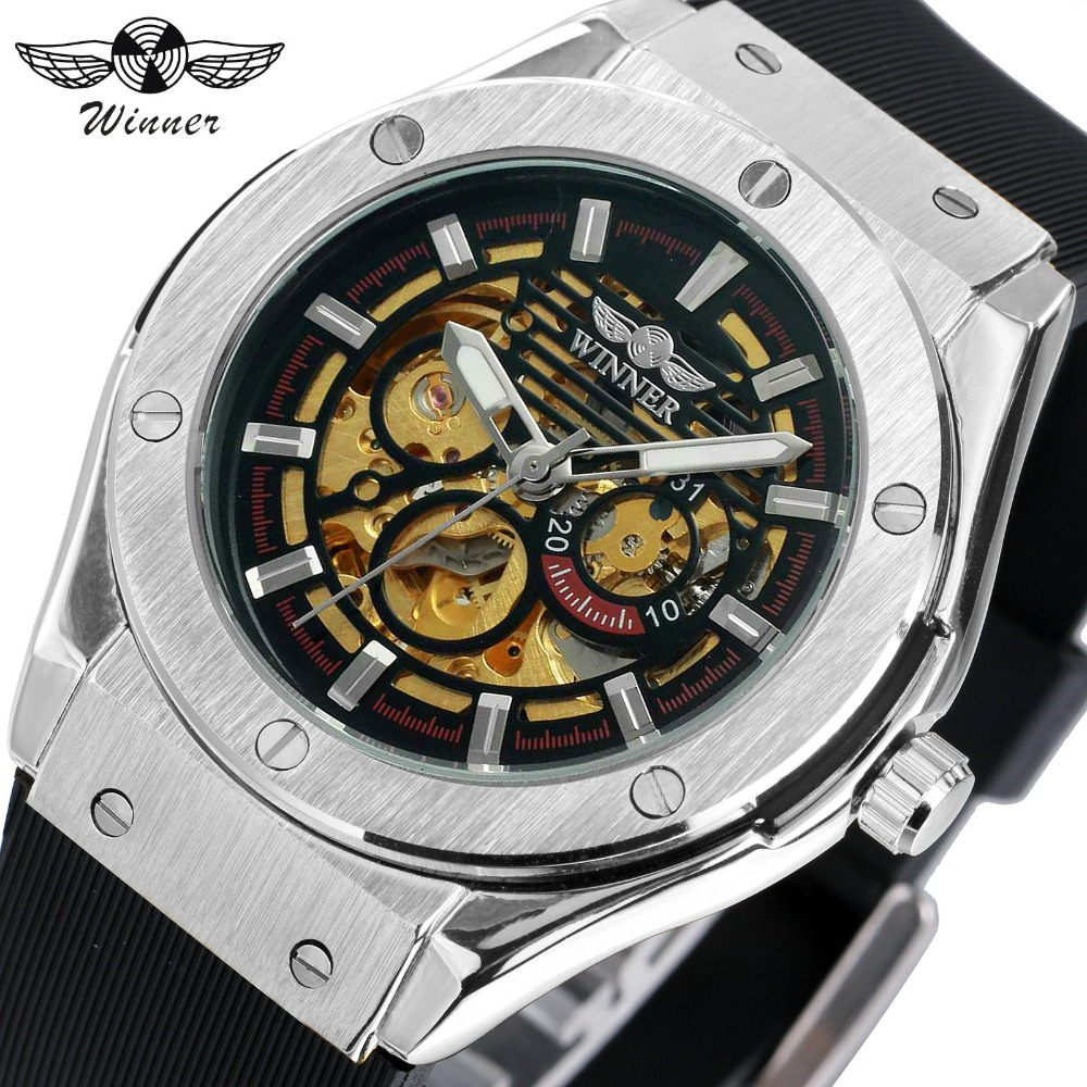 WINNER Men Sports Casual Auto Mechanical Wristwatch Soft Rubber Band Sub Dial Auto Date Skeleton Dial Design Watch + Gift BOX winner men sports casual auto mechanical wristwatch soft rubber band sub dial auto date skeleton dial design watch gift box