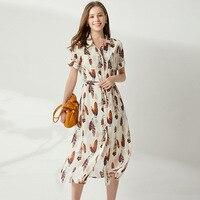 Шелковое платье, летняя рубашка миди с принтом, платья с поясом, повседневные, sukienka, элегантные, короткий рукав, женщины большого размера, од