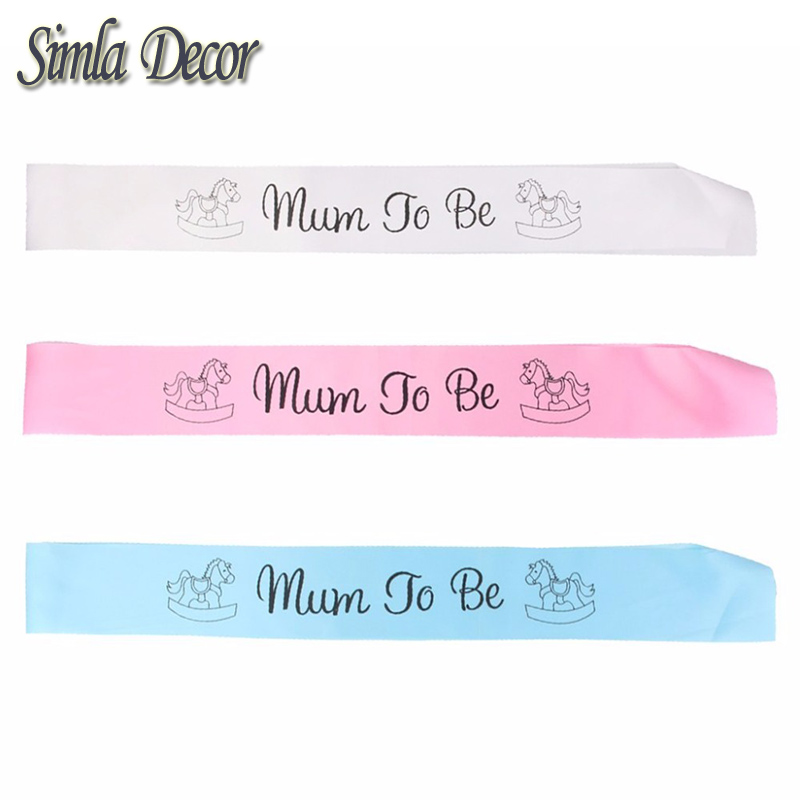 1 pcs Mum To Be Sash Baby Shower Boy Girl Party Decoration Centerpieces ( Pink White Blue)