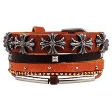 2 Pieces Steampunk Boho Leather Cross Bracelets for Womens Male Female Handmade Braclet Braslet Pulseira Feminina Jewellery