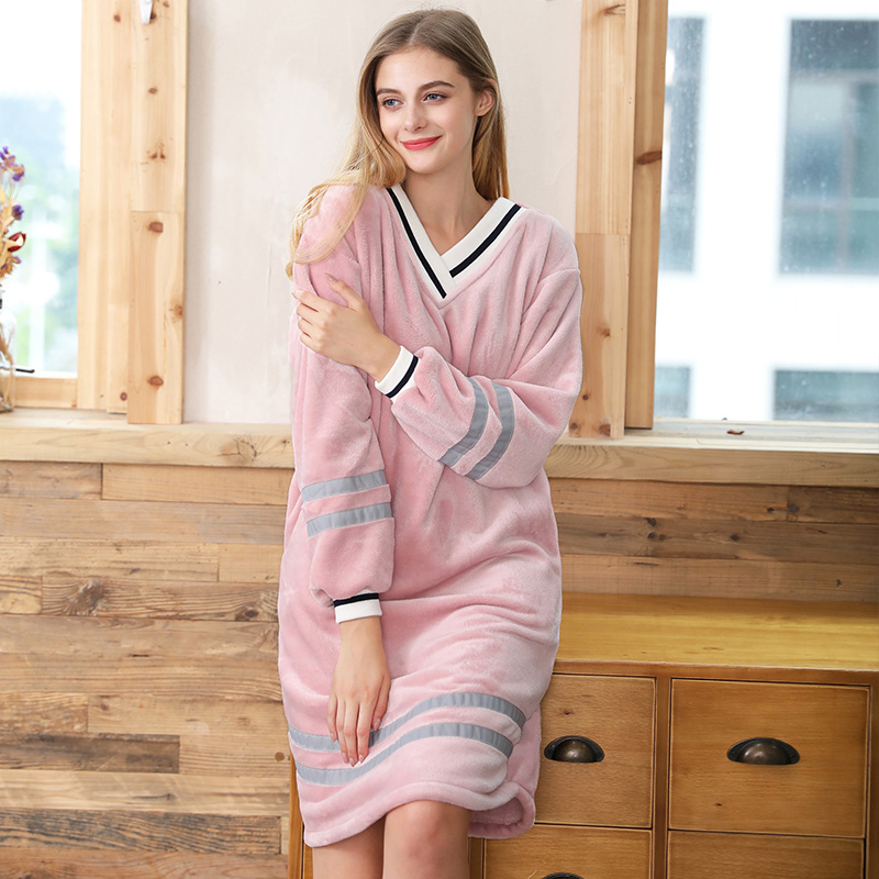 V-neck Coral Fleece Nightwear Women Flannel nightdress long sleeve home clothing warm   sleepshirts   female dressing gown