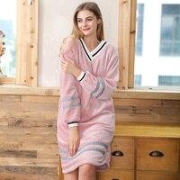 V neck Coral Fleece Nightwear Women Flannel nightdress long sleeve home clothing warm sleepshirts female dressing gown