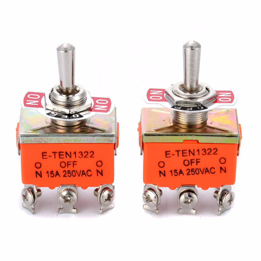 2pcs R-1322 Metal Resin DPDT Switch AC 250V 15A ON/OFF/ON 3 Position Toggle Switches For Switching Lights Motors Mayitr