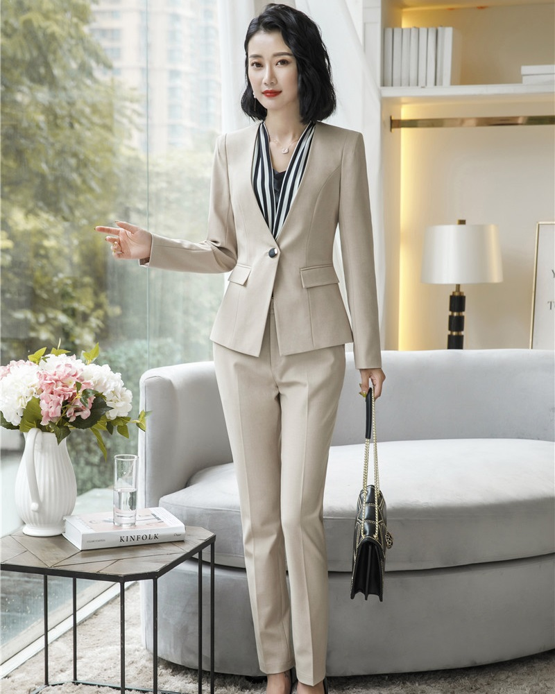 Ladies Fashion Apricot Formal Women Business Suits With Jackets And Pants Uniform Styles Female Work Wear Pantsuits Trousers Set