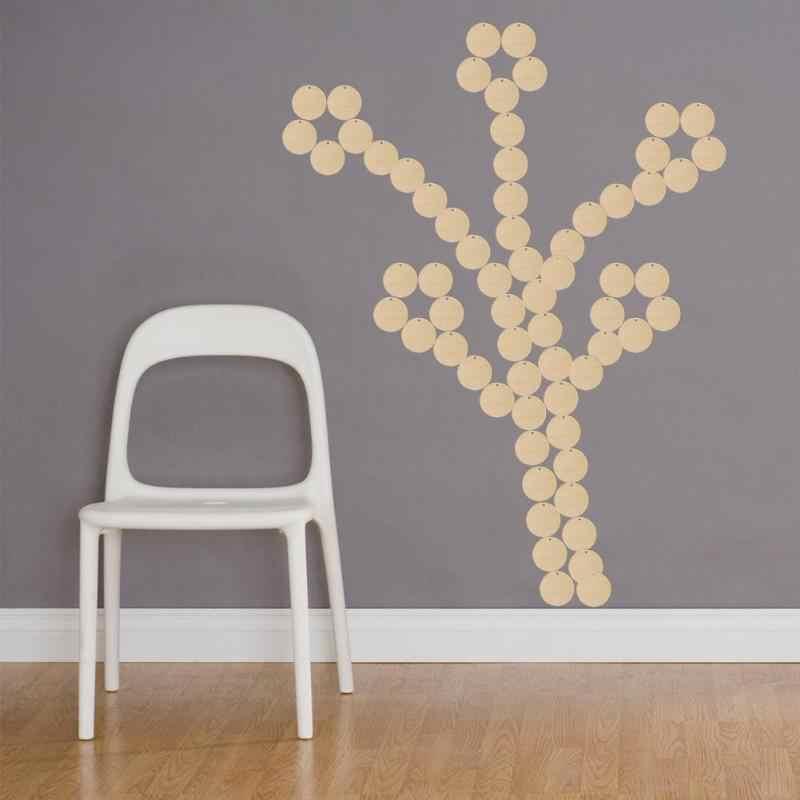 50 個の装飾木製の家の装飾ミックスラウンドパターン未完成の木製スライス Diy の工芸品スクラップブッキングツール