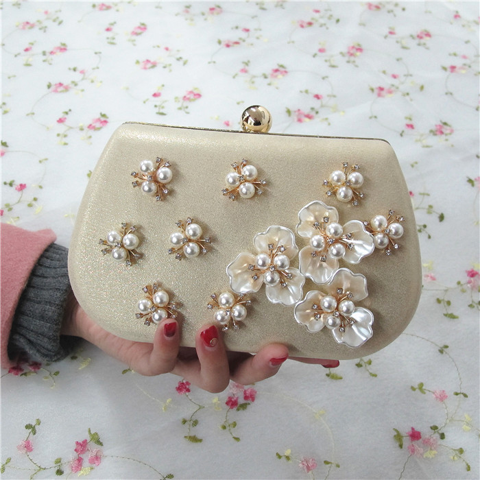 Women Rhinestones Beaded Pearl HandBga with Chains Gold Evening Clutch Bag Mini Wedding Party Prom Hardware