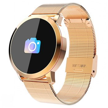 Q8 OLED Stainless Steel & Leather Bluetooth Smart Watch