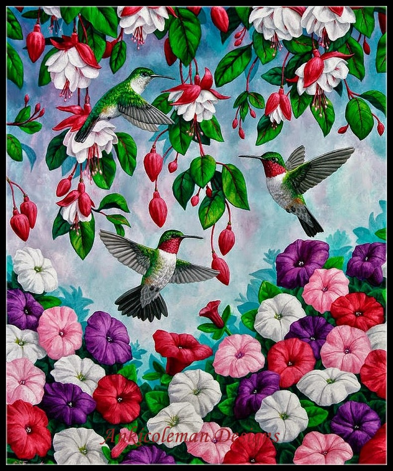 Needlework for embroidery DIY French DMC High Quality - Counted Cross Stitch Kits 14 ct Oil painting - Hummingbirds SpringNeedlework for embroidery DIY French DMC High Quality - Counted Cross Stitch Kits 14 ct Oil painting - Hummingbirds Spring