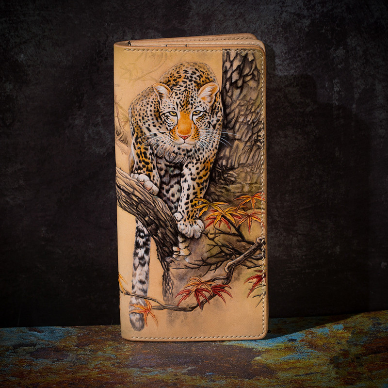 High-end Handmade Wallets Carving Leopard Purses Men Long Clutch Vegetable Tanned Leather Wallet Card Holder